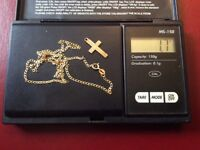 hallmarked 9ct gold chain and cross