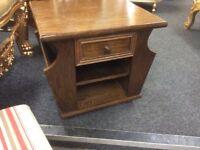 Solid oak vintage Art Deco side table