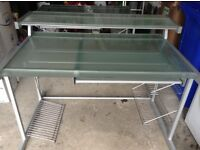 Opaque glass and metal desk