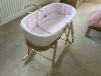 Baby Clare de Lune Moses Basket with Stand & Reflux Pillow