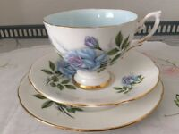 Royal Standard Bone China Trio. Fascination Pale Blue Floral.