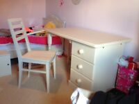 Child's bedroom desk and chair in solid pine in antique white for sale.