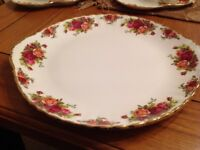 Royal Albert old country rose cake plate large