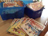 223 x Old Beano Comics + 2 x storage boxes