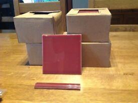 Burgundy 6inch/15cm sq tiles and 15cm x 2.5cm edge tiles