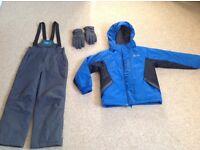 Nearly new Boys Ski set, Jacket, pants & gloves, 7-8 years, Mountain Warehouse, grey & blue