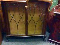 Reduced vintage mahogany display cupboard