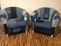 x2 Unique Newly Upholstered Denim Jeans Tub (Bucket) Chairs - Shops, offices, bedroom, dining etc