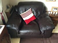 2seater settee and chair in brown