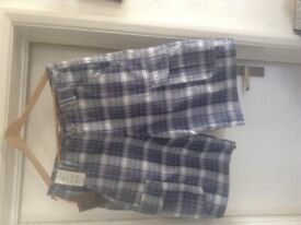 NEW Marks and Spencer blue check shorts