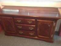 SOLID WOOD SIDEBOARD-3 DRAWERS-2 SIDE CUPBOARDS-BRASS HANDLES-IMMACULATE-£175