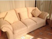 Cream Three seater sofa and two chairs