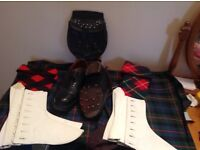 Pipe band shoes and hose, 2 pr spats, 1 sporran