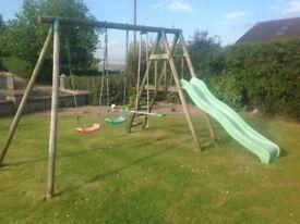 TP wooden swing/slide set