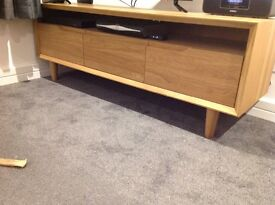 Oak effect TV cabinet with shelve and 3 drawers