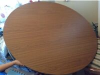 """Heavy Solid wooden round foldable dining table, diameter: 43.5"""""""
