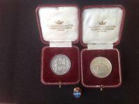 St Dunstans, Silver Tennis & Billiards Medals, Badge, 1920's, AC& Co. Original Cases