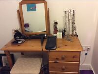 Pine dressing table, can be sold with or without mirror