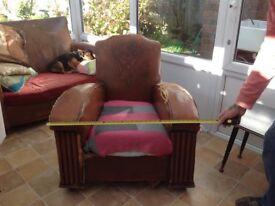 Art Deco sofa and arm chair.