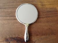 VINTAGE HANDHELD VANITY MIRROR, SILVER PLATED, WITH BRUSH & COMB