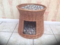 2 tier woven wicker pet basket bed