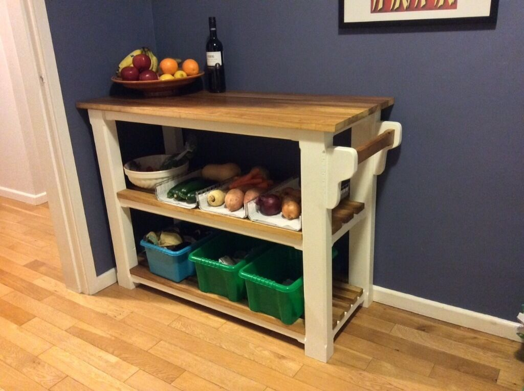 New solid pine hardwood kitchen island sideboard table butcher block veg shoe rack made to measurein Swaffham, NorfolkGumtree - Hi and thanks for looking at my ad, please take a look at my other items of furniture Delivery avaliable across East anglia The price is for the sideboard in the first pic New solid pine / iroko hardwood small kitchen island 1150mm wide. 450mm depth....