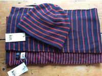 John Lewis Kin men's stripe navy hat and scarf wool. BNWT