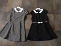 Two black and white dresses from M&S. Age 8-9. Excellent condition