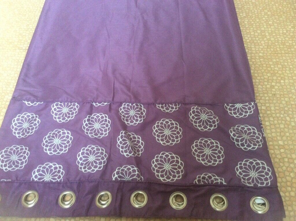 As new purple and silver thermal lined curtains 90 x 86