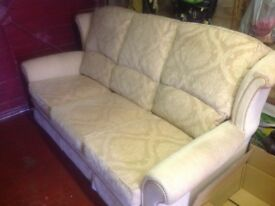 Steed Upholstery Three Seat Sofa Cream and Beige