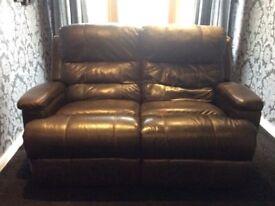 2 seater reclining sofa, Brown/Black.
