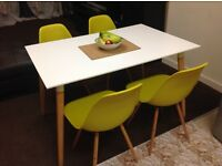 Charles Eames Style Dining table + 4 chairs - white