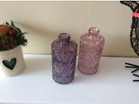 Two New small glass vases .