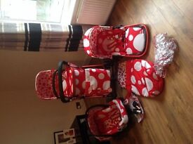 BOXED IN SUPERB CONDITION COSATTO RED BUBBLE 3 IN 1 TRAVEL SYSTEM PUSHCHAIR,CARRYCOT,CAR SEAT