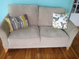 "Pair Debenhams ""Fyfield"" matching sofas, colour Linen with wooden floor friendly feet"