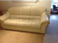 3 seater white leather sofa. FREE