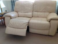 Leather 2 & 3 seater, electric reclining sofas in cream + footstool