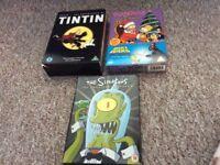 DVDs tin tin and simpsons