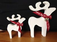 christmas star gazing reindeer decorations mother and baby white stipple silver bells red ribbon
