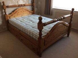 SOLID PINE DOUBLE BED with STORAGE DRAWERS + MATTRESS