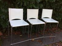 Off white faux leather bar or breakfast bar stools with backs