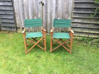 DIRECTOR'S CHAIRS Excellent condition, dark green canvas x 2