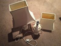 Two Cream Table Lamps.