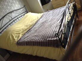 Superking size black metal bed frame