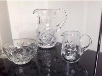 Crystal bar set, large jug, small jug, nut/crisp bowl REDUCED PRICE