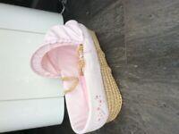 Pink baby Moses basket