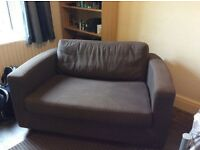 Habitat two seater single brown sofa bed