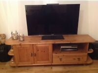Solid pine, long lounge TV unit and bookcase