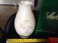 8 piece selection of vases, incl. original boxed Belleek vase