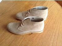 Short camel coloured suede boots